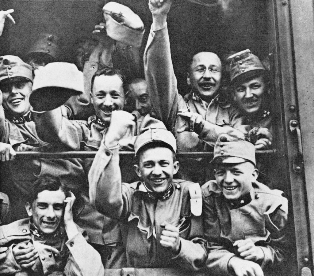 WWI soldiers cheer